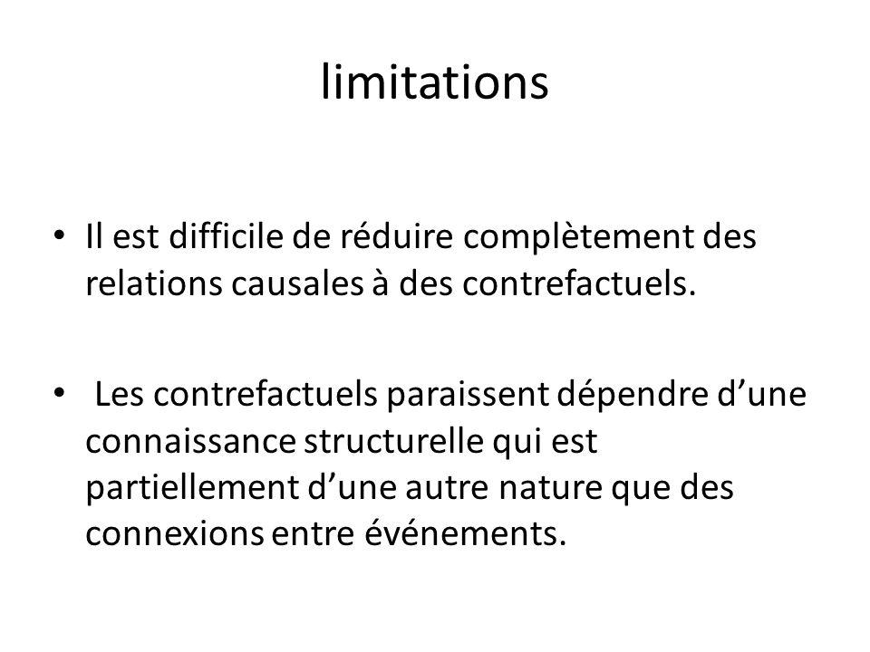 limitations Il est difficile de réduire complètement des relations causales à des contrefactuels. Les contrefactuels paraissent dépendre dune connaiss