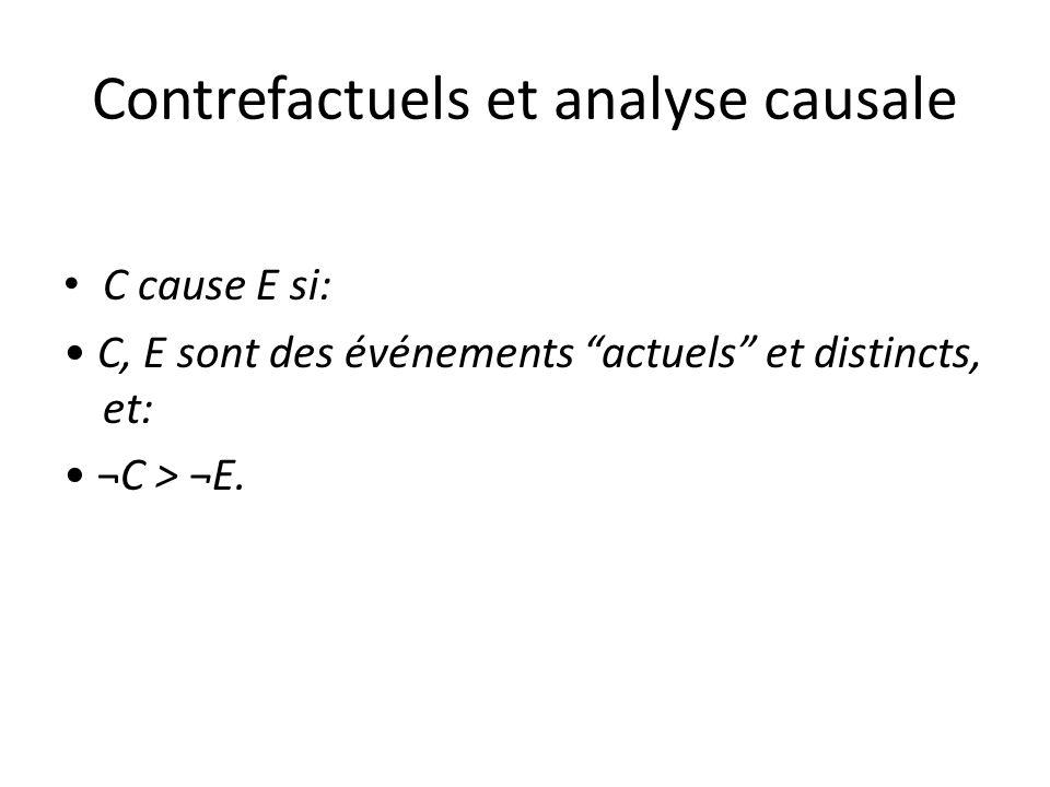 Contrefactuels et analyse causale C cause E si: C, E sont des événements actuels et distincts, et: ¬C > ¬E.