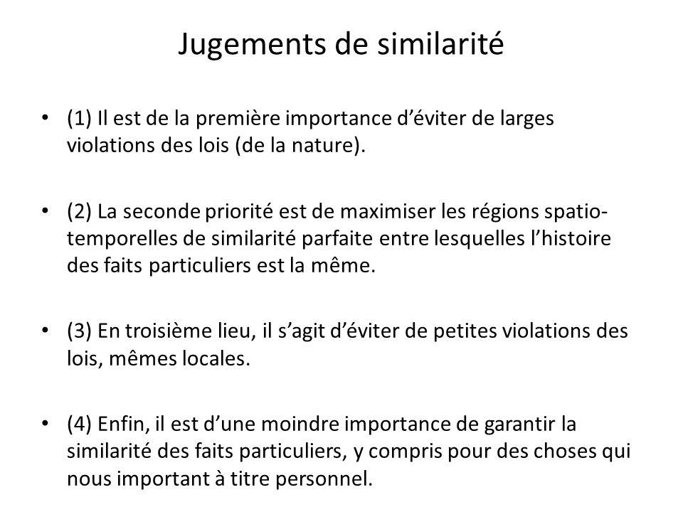 Jugements de similarité (1) Il est de la première importance déviter de larges violations des lois (de la nature). (2) La seconde priorité est de maxi