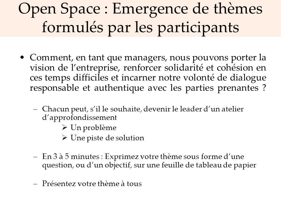 Open Space : Emergence de thèmes formulés par les participants Comment, en tant que managers, nous pouvons porter la vision de lentreprise, renforcer