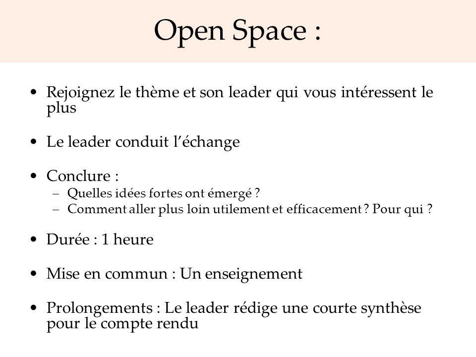Open Space : Rejoignez le thème et son leader qui vous intéressent le plus Le leader conduit léchange Conclure : –Quelles idées fortes ont émergé ? –C