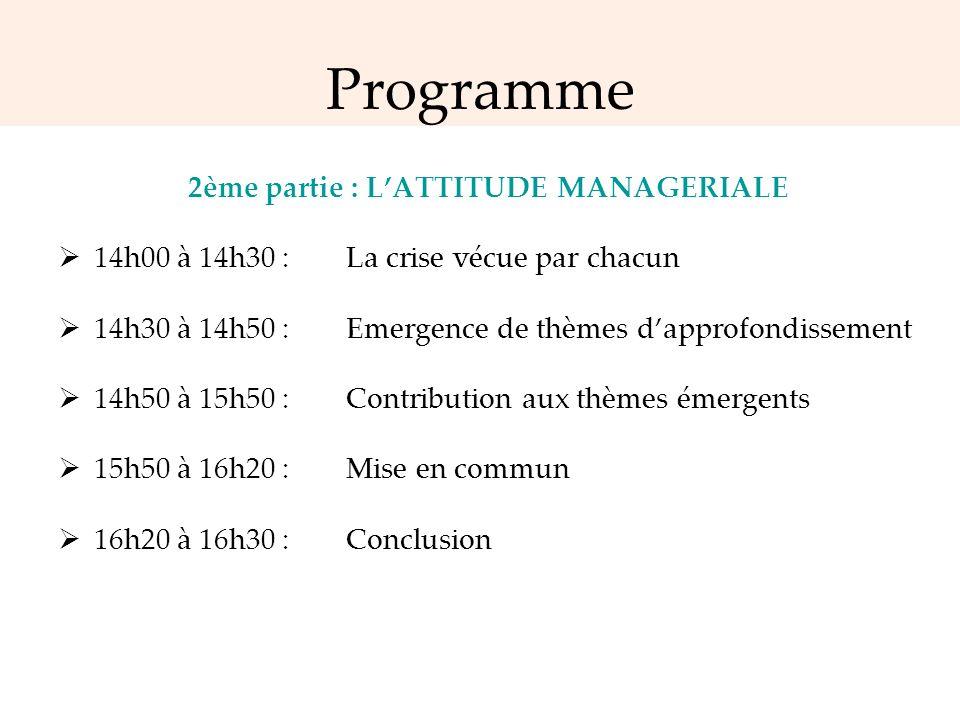 Programme 2ème partie : LATTITUDE MANAGERIALE 14h00 à 14h30 : La crise vécue par chacun 14h30 à 14h50 : Emergence de thèmes dapprofondissement 14h50 à