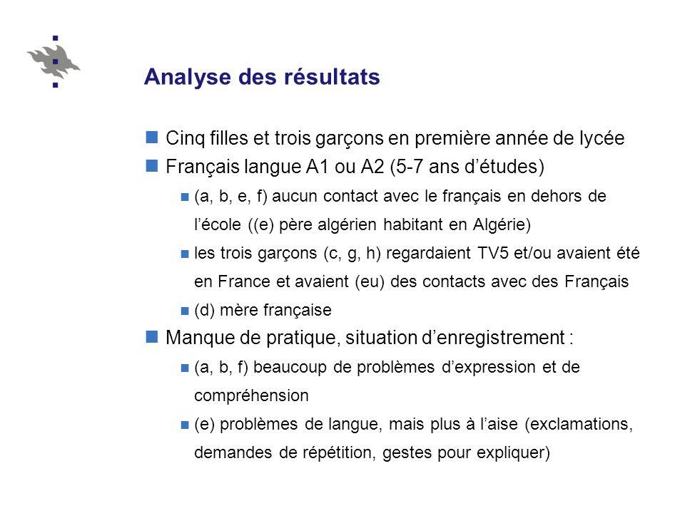 Analyse des résultats Cinq filles et trois garçons en première année de lycée Français langue A1 ou A2 (5-7 ans détudes) (a, b, e, f) aucun contact av