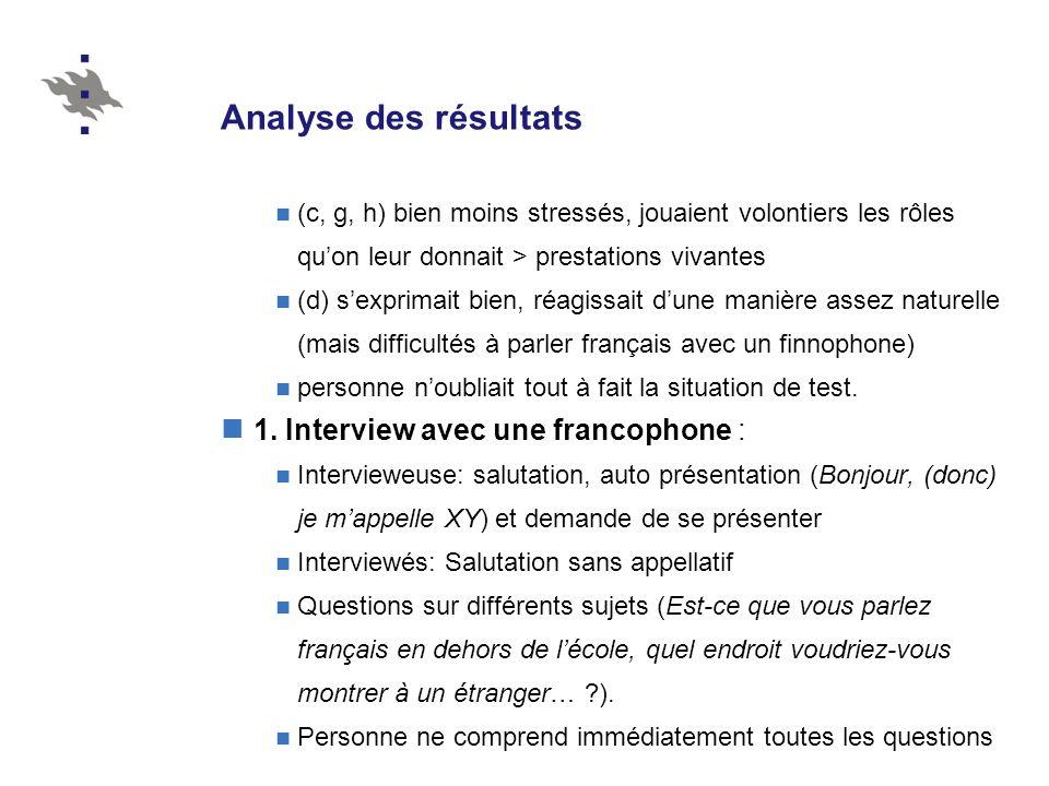 Analyse des résultats (c, g, h) bien moins stressés, jouaient volontiers les rôles quon leur donnait > prestations vivantes (d) sexprimait bien, réagi