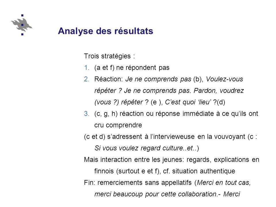 Analyse des résultats Trois stratégies : 1.(a et f) ne répondent pas 2.Réaction: Je ne comprends pas (b), Voulez-vous répéter ? Je ne comprends pas. P