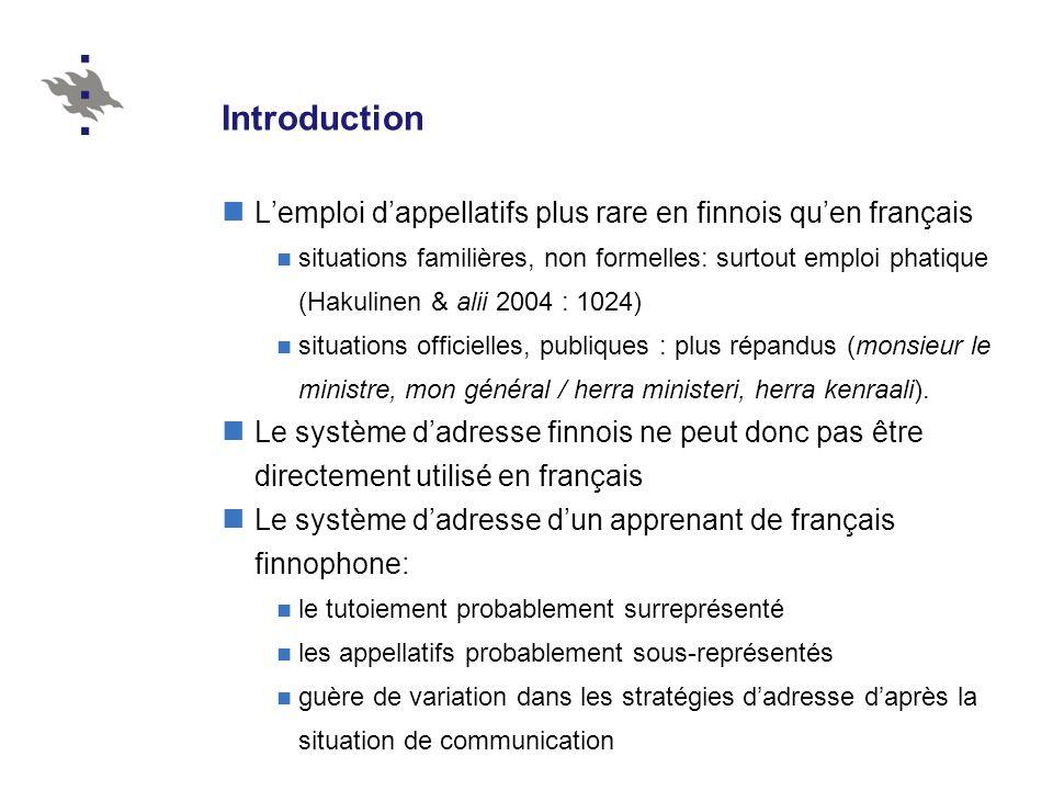 Introduction Lemploi dappellatifs plus rare en finnois quen français situations familières, non formelles: surtout emploi phatique (Hakulinen & alii 2