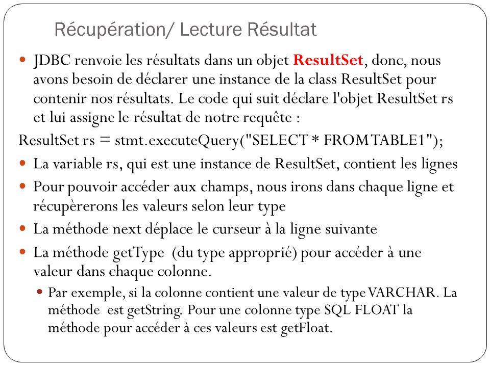 Récupération/ Lecture Résultat JDBC renvoie les résultats dans un objet ResultSet, donc, nous avons besoin de déclarer une instance de la class ResultSet pour contenir nos résultats.