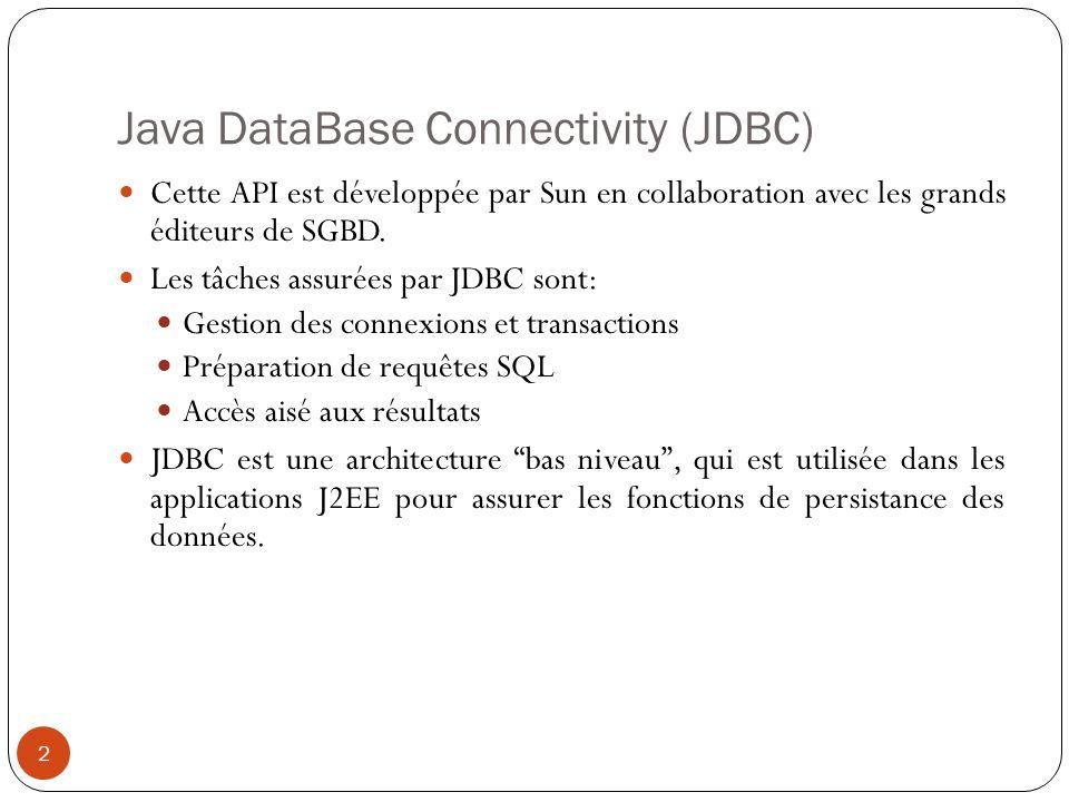 Java DataBase Connectivity (JDBC) Cette API est développée par Sun en collaboration avec les grands éditeurs de SGBD.