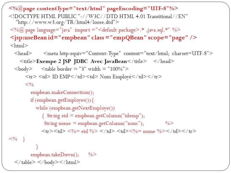 .*,java.sql.* %> Exempe 2 JSP JDBC Avec JavaBean ID EMP Nom Employé <% empbean.makeConnection(); if (empbean.getEmployes()){ while (empbean.getNextEmploye()) { String eid = empbean.getColumn( idemp ); String nome = empbean.getColumn( nom ); %> <% } } empbean.takeDown(); %>