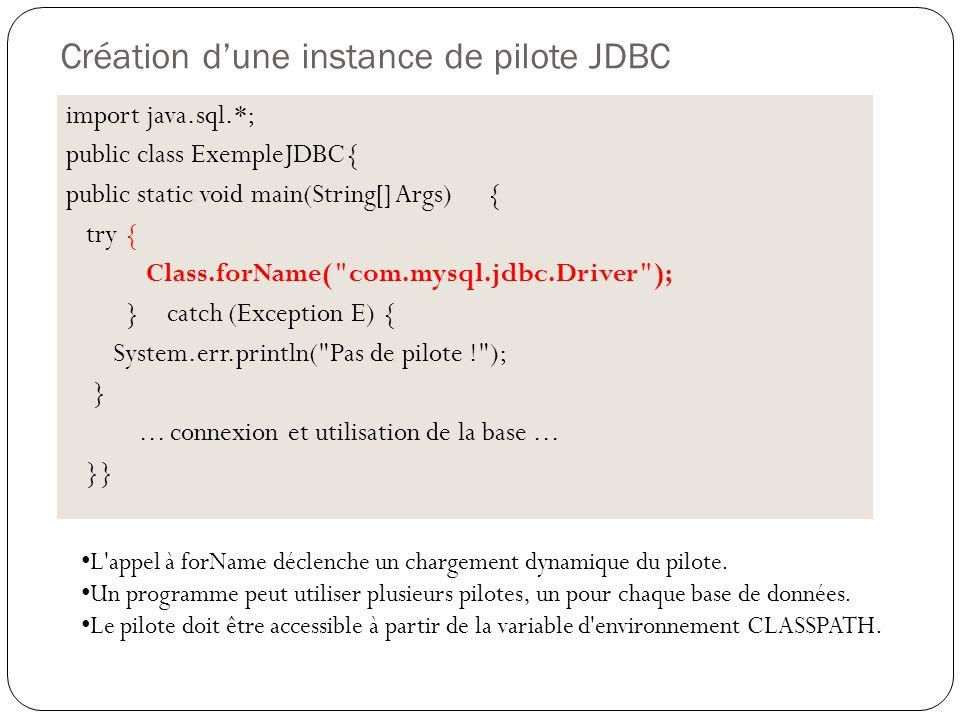 Création dune instance de pilote JDBC import java.sql.*; public class ExempleJDBC{ public static void main(String[] Args) { try { Class.forName( com.mysql.jdbc.Driver ); } catch (Exception E) { System.err.println( Pas de pilote ! ); }...