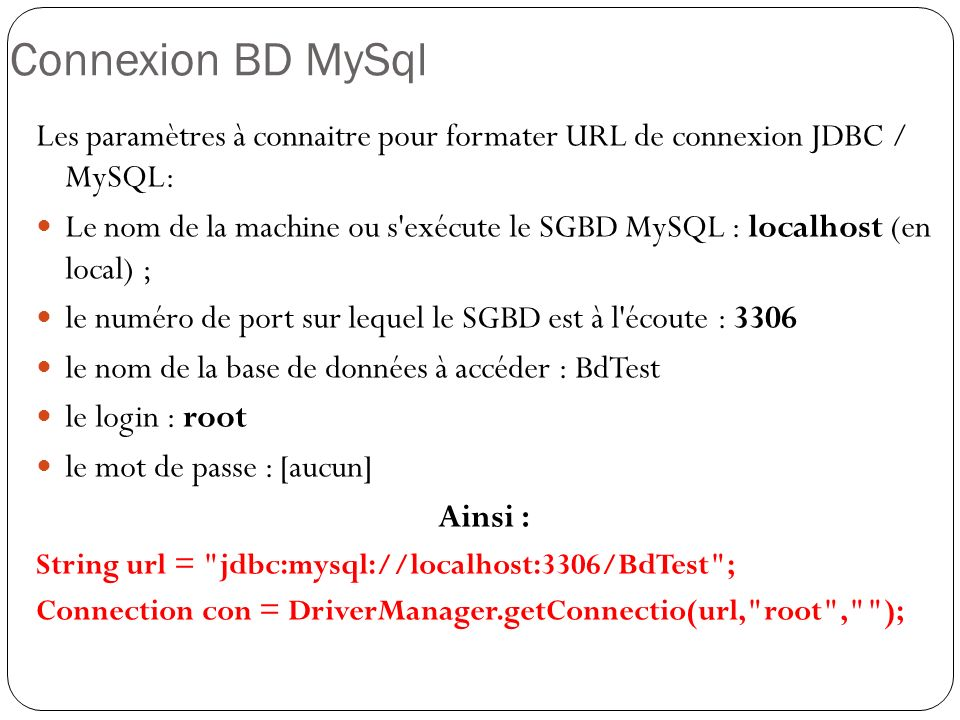 Insertion de lignes: rs.moveToInsertRow(); rs.updateString( Nom , Ben Salah ); rs.updateInt( Age , 24); rs.insertRow(); rs.first();