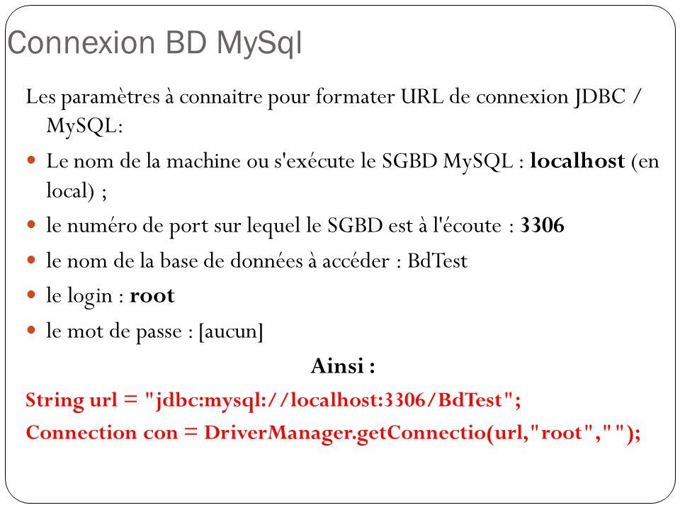 Exécution Instruction SQL Un objet Statement est ce que votre instruction SQL envoie vers le SGBD.