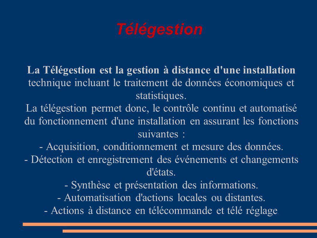 Télégestion La Télégestion est la gestion à distance d une installation technique incluant le traitement de données économiques et statistiques.