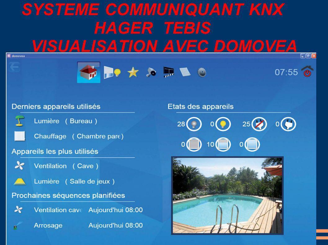 SYSTEME COMMUNIQUANT KNX HAGER TEBIS VISUALISATION AVEC DOMOVEA