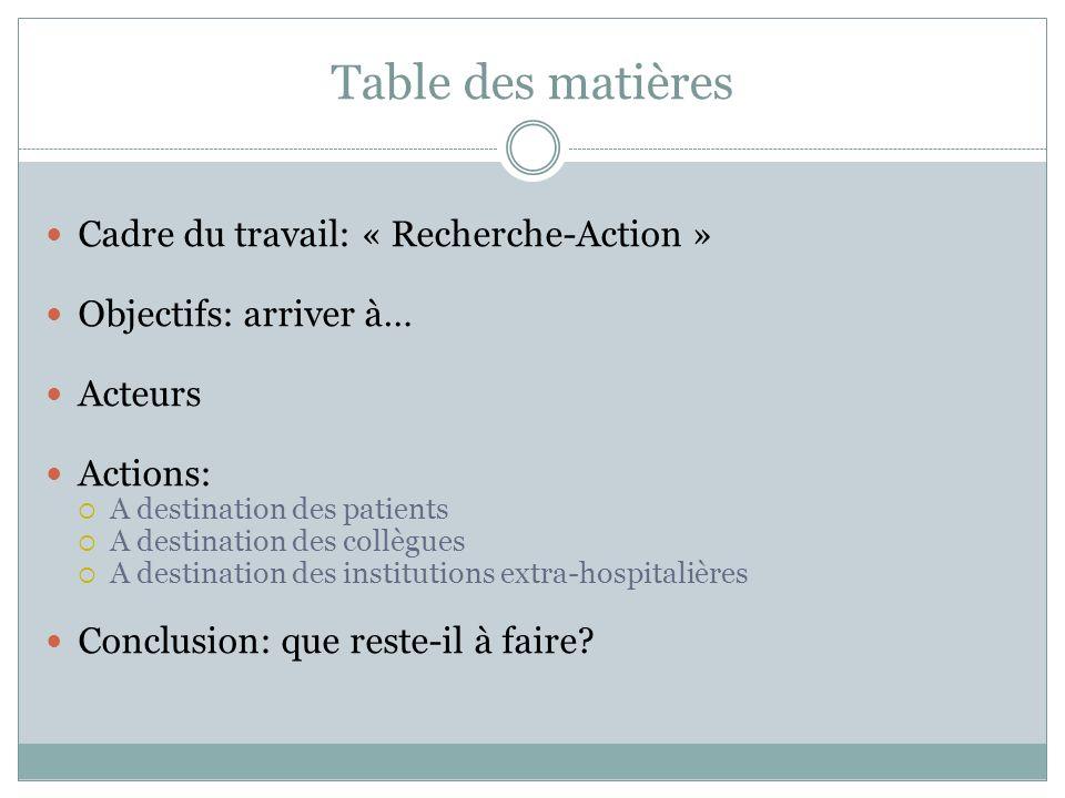 Table des matières Cadre du travail: « Recherche-Action » Objectifs: arriver à… Acteurs Actions: A destination des patients A destination des collègue