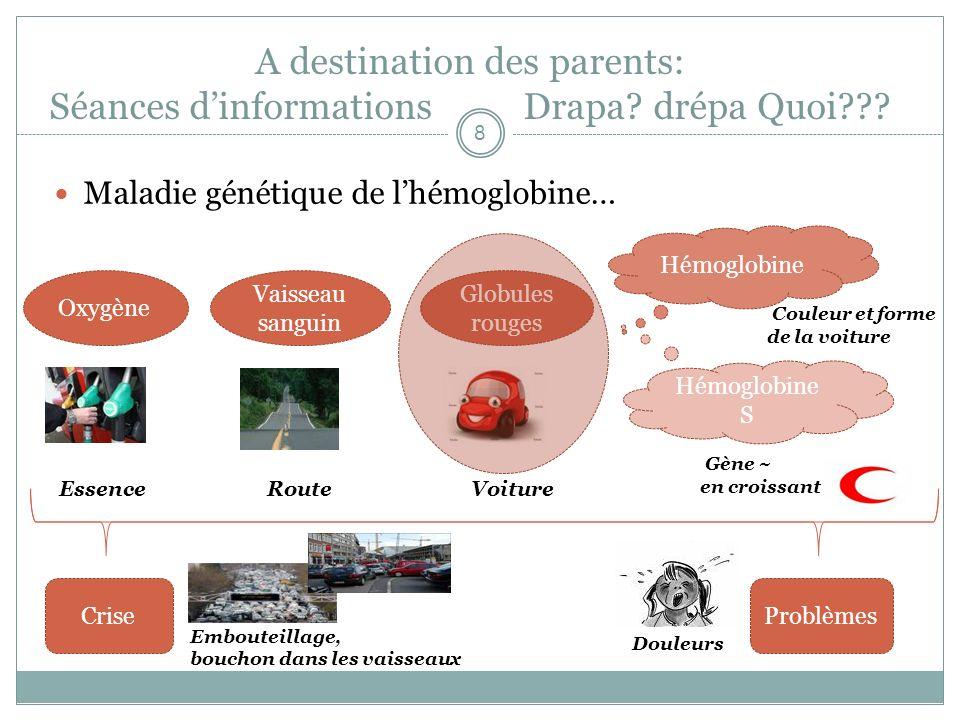 A destination des parents: Séances dinformations Drapa? drépa Quoi??? Maladie génétique de lhémoglobine… Essence Route Voiture Oxygène Globules rouges
