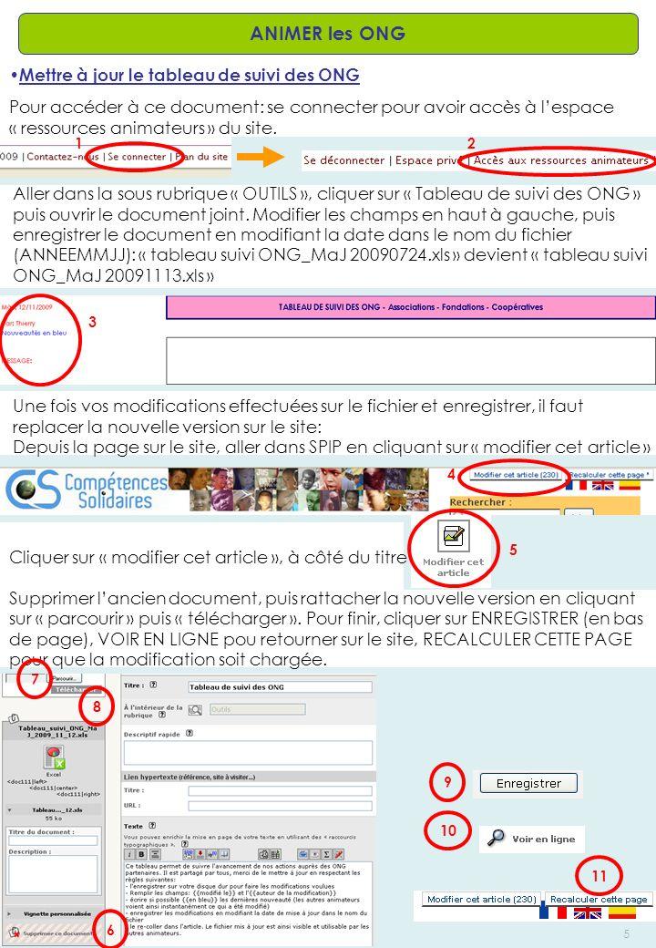 AD – Créé le: 13/11/2009 – Modifié le: /5 ANIMER les ONG Mettre à jour le tableau de suivi des ONG Pour accéder à ce document: se connecter pour avoir