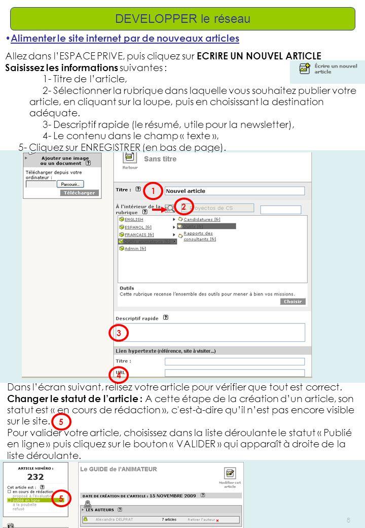 AD – Créé le: 13/11/2009 – Modifié le: /8 DEVELOPPER le réseau Alimenter le site internet par de nouveaux articles Allez dans lESPACE PRIVE, puis cliq