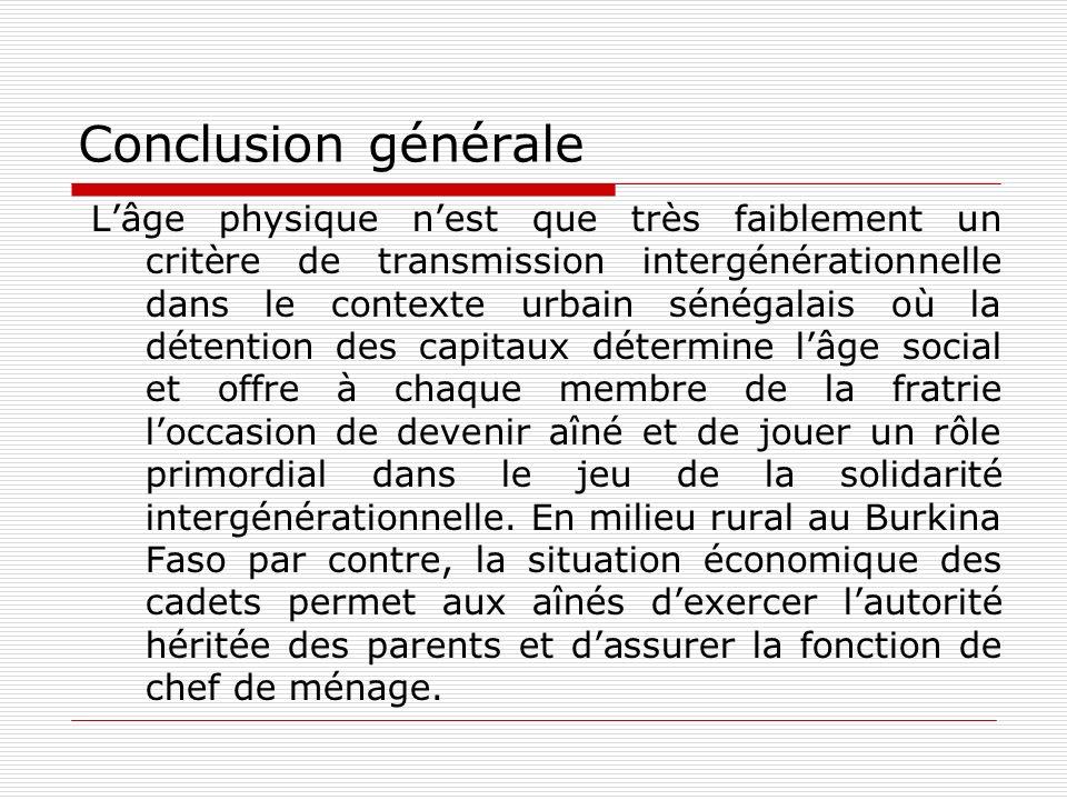 Conclusion générale Lâge physique nest que très faiblement un critère de transmission intergénérationnelle dans le contexte urbain sénégalais où la dé
