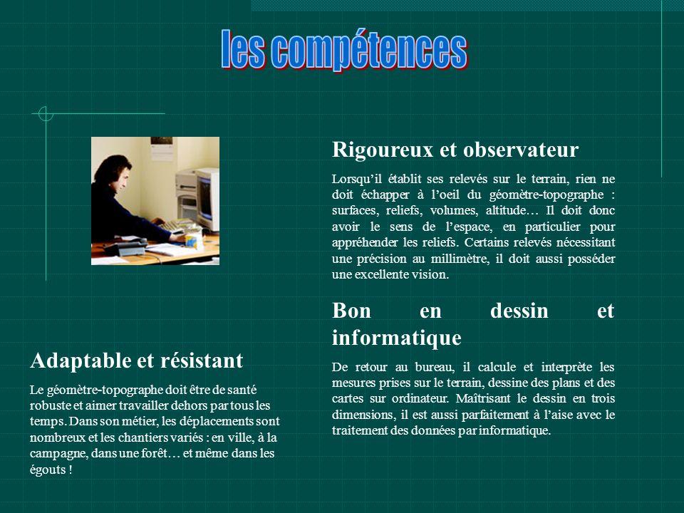 Du BEP au diplôme d ingénieur Plusieurs diplômes de niveaux différents peuvent mener à la profession de technicien géomètre-topographe.