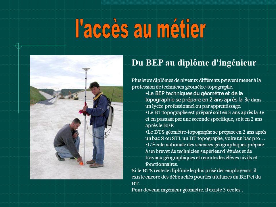 Du BEP au diplôme d'ingénieur Plusieurs diplômes de niveaux différents peuvent mener à la profession de technicien géomètre-topographe. Le BEP techniq