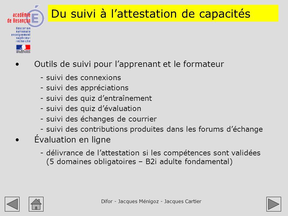 Difor - Jacques Ménigoz - Jacques Cartier Du suivi à lattestation de capacités Outils de suivi pour lapprenant et le formateur -suivi des connexions -