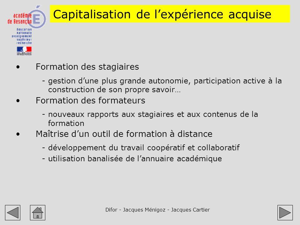 Difor - Jacques Ménigoz - Jacques Cartier Capitalisation de lexpérience acquise Formation des stagiaires -gestion dune plus grande autonomie, particip