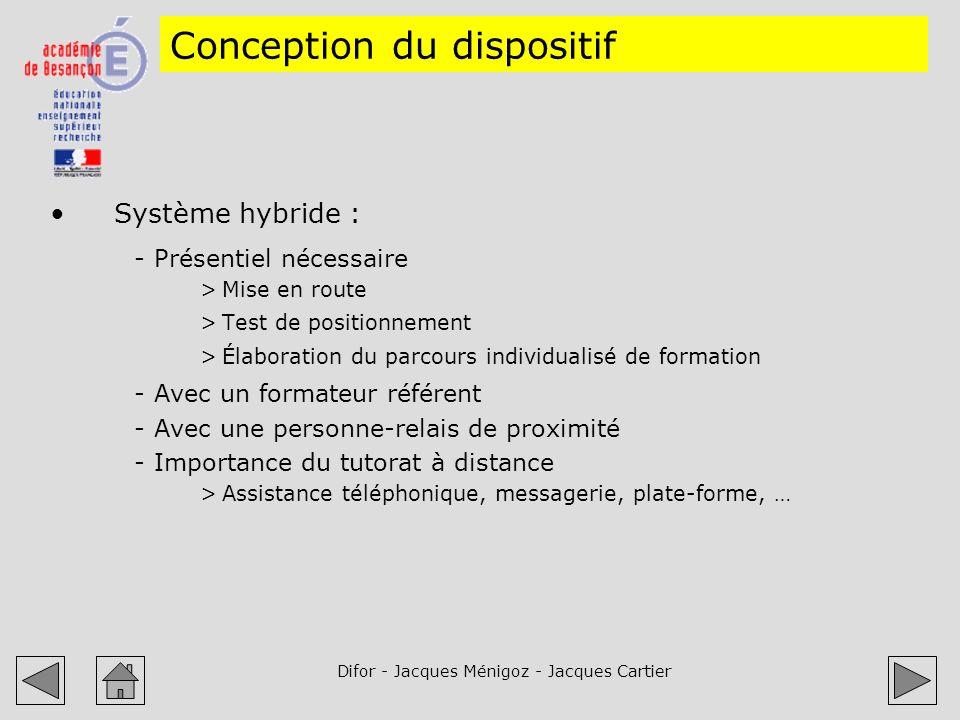 Difor - Jacques Ménigoz - Jacques Cartier Conception du dispositif Système hybride : -Présentiel nécessaire >Mise en route >Test de positionnement >Él