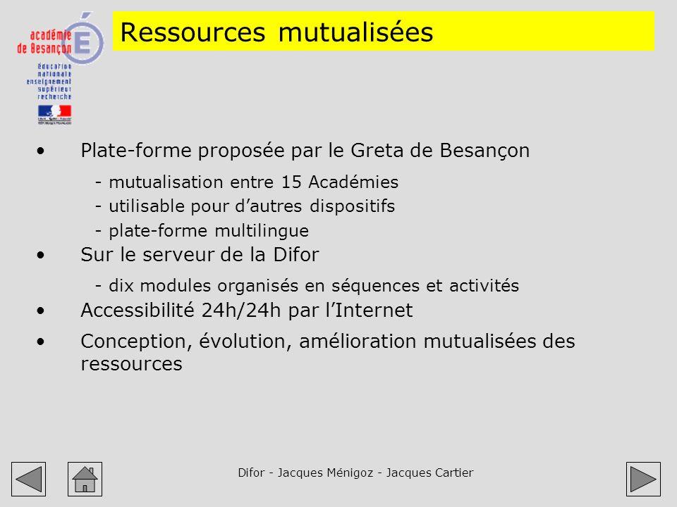 Difor - Jacques Ménigoz - Jacques Cartier Ressources mutualisées Plate-forme proposée par le Greta de Besançon -mutualisation entre 15 Académies -util