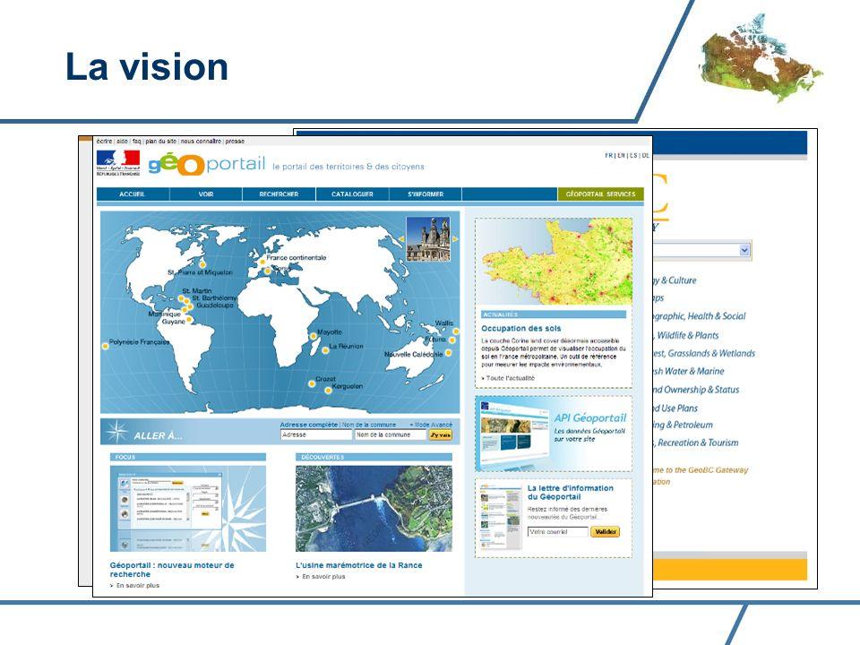 Être LE portail principal de découverte et daccès aux données géospatiales du gouvernement fédéral La vision