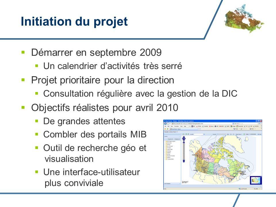 Initiation du projet Démarrer en septembre 2009 Un calendrier dactivités très serré Projet prioritaire pour la direction Consultation régulière avec la gestion de la DIC Objectifs réalistes pour avril 2010 De grandes attentes Combler des portails MIB Outil de recherche géo et visualisation Une interface-utilisateur plus conviviale