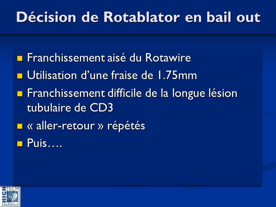 Décision de Rotablator en bail out Franchissement aisé du Rotawire Franchissement aisé du Rotawire Utilisation dune fraise de 1.75mm Utilisation dune fraise de 1.75mm Franchissement difficile de la longue lésion tubulaire de CD3 Franchissement difficile de la longue lésion tubulaire de CD3 « aller-retour » répétés « aller-retour » répétés Puis….