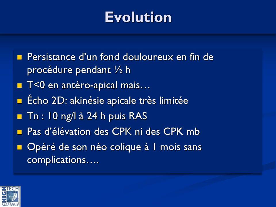 EvolutionEvolution Persistance dun fond douloureux en fin de procédure pendant ½ h Persistance dun fond douloureux en fin de procédure pendant ½ h T<0 en antéro-apical mais… T<0 en antéro-apical mais… Écho 2D: akinésie apicale très limitée Écho 2D: akinésie apicale très limitée Tn : 10 ng/l à 24 h puis RAS Tn : 10 ng/l à 24 h puis RAS Pas délévation des CPK ni des CPK mb Pas délévation des CPK ni des CPK mb Opéré de son néo colique à 1 mois sans complications….
