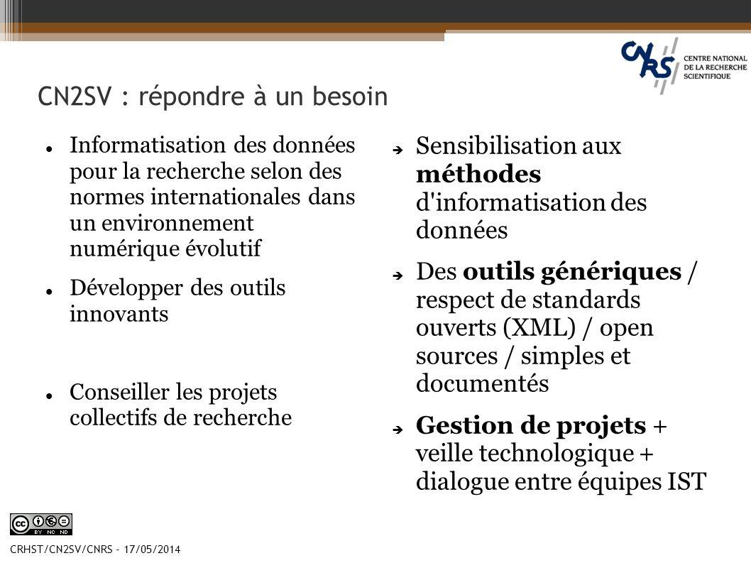CRHST/CN2SV/CNRS - 17/05/2014 CN2SV : répondre à un besoin Informatisation des données pour la recherche selon des normes internationales dans un envi