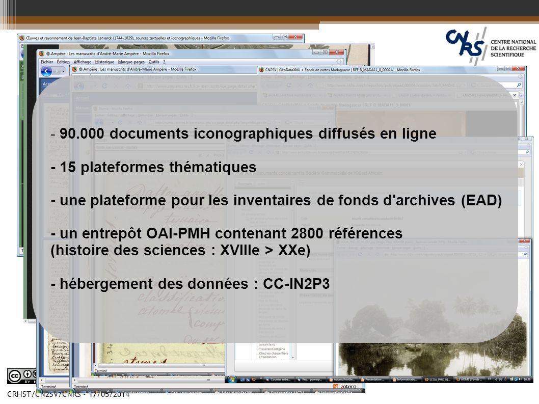 CRHST/CN2SV/CNRS - 17/05/2014 - 90.000 documents iconographiques diffusés en ligne - 15 plateformes thématiques - une plateforme pour les inventaires