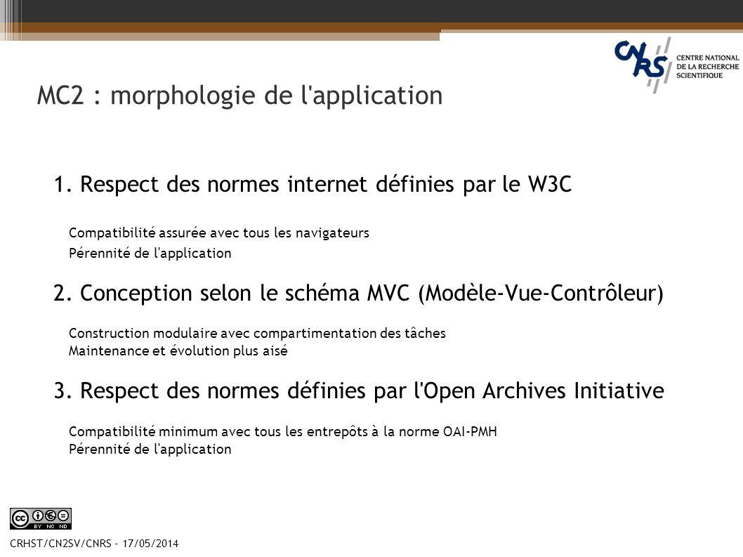 CRHST/CN2SV/CNRS - 17/05/2014 MC2 : morphologie de l'application 1. Respect des normes internet définies par le W3C Compatibilité assurée avec tous le