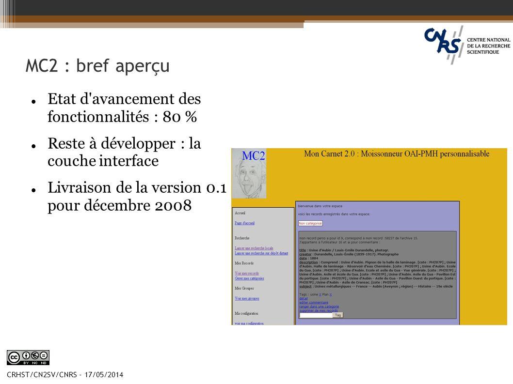 CRHST/CN2SV/CNRS - 17/05/2014 MC2 : bref aperçu Etat d'avancement des fonctionnalités : 80 % Reste à développer : la couche interface Livraison de la