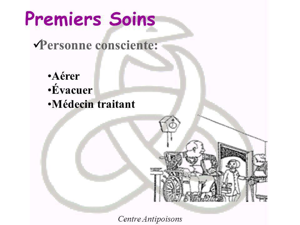 Centre Antipoisons Premiers Soins Personne consciente: Aérer Évacuer Médecin traitant