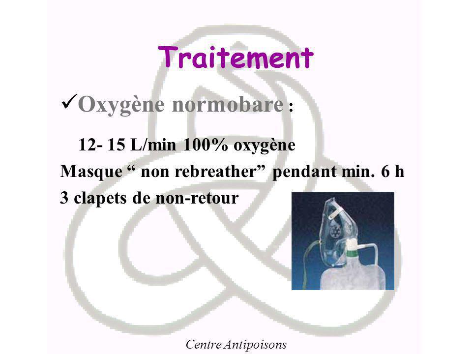 Centre Antipoisons Traitement Oxygène normobare : 12- 15 L/min 100% oxygène Masque non rebreather pendant min. 6 h 3 clapets de non-retour