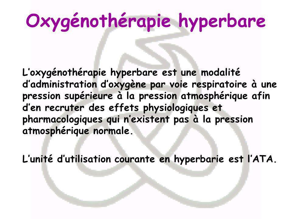Loxygénothérapie hyperbare est une modalité dadministration doxygène par voie respiratoire à une pression supérieure à la pression atmosphérique afin