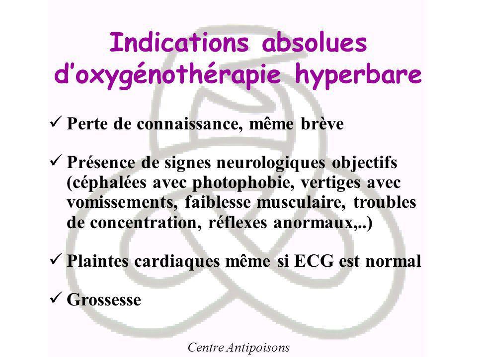 Centre Antipoisons Indications absolues doxygénothérapie hyperbare Perte de connaissance, même brève Présence de signes neurologiques objectifs (cépha
