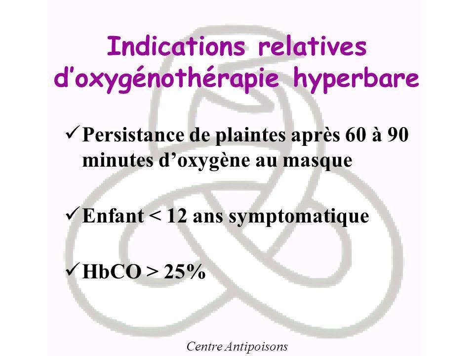 Centre Antipoisons Indications relatives doxygénothérapie hyperbare Persistance de plaintes après 60 à 90 minutes doxygène au masque Enfant < 12 ans s