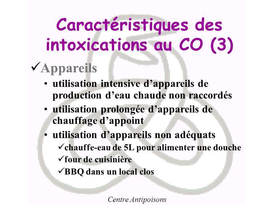 Centre Antipoisons Caractéristiques des intoxications au CO (3) Appareils utilisation intensive dappareils de production deau chaude non raccordés uti