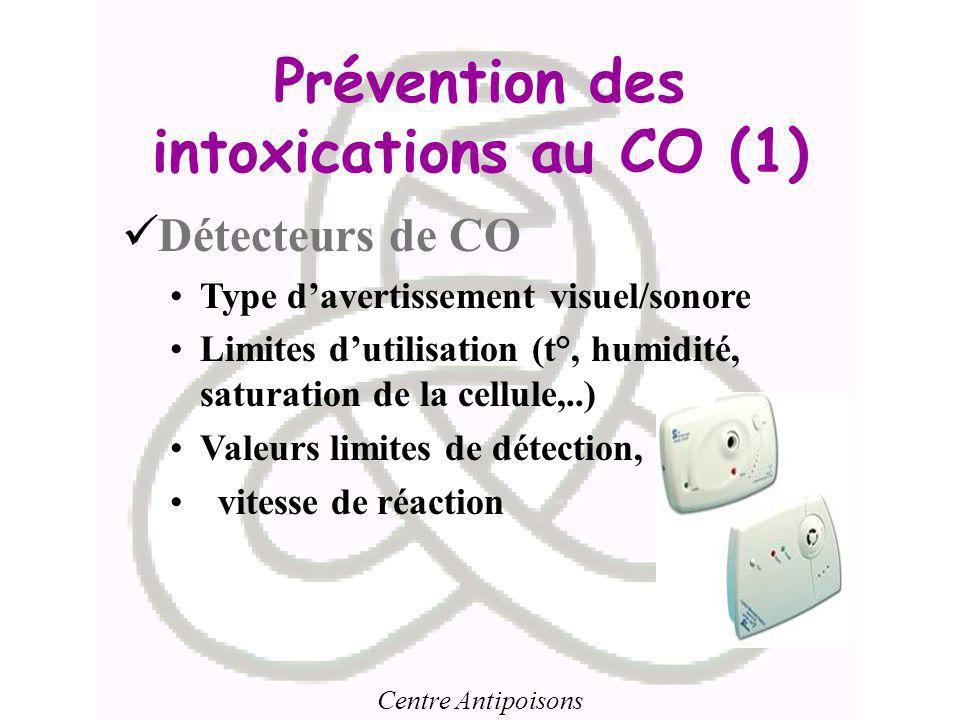 Centre Antipoisons Prévention des intoxications au CO (1) Détecteurs de CO Type davertissement visuel/sonore Limites dutilisation (t°, humidité, satur