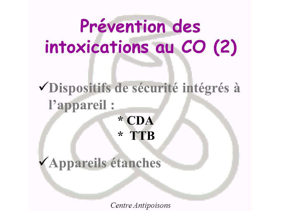 Centre Antipoisons Prévention des intoxications au CO (2) Dispositifs de sécurité intégrés à lappareil : * CDA * TTB Appareils étanches