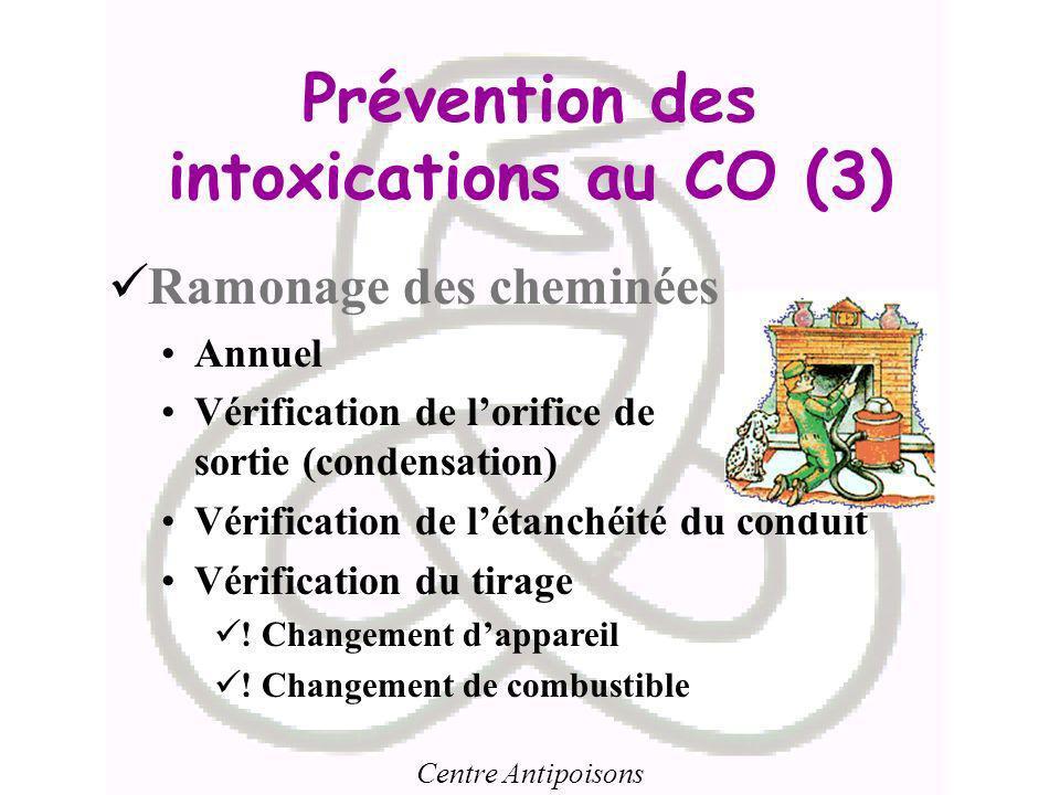 Centre Antipoisons Prévention des intoxications au CO (3) Ramonage des cheminées Annuel Vérification de lorifice de sortie (condensation) Vérification