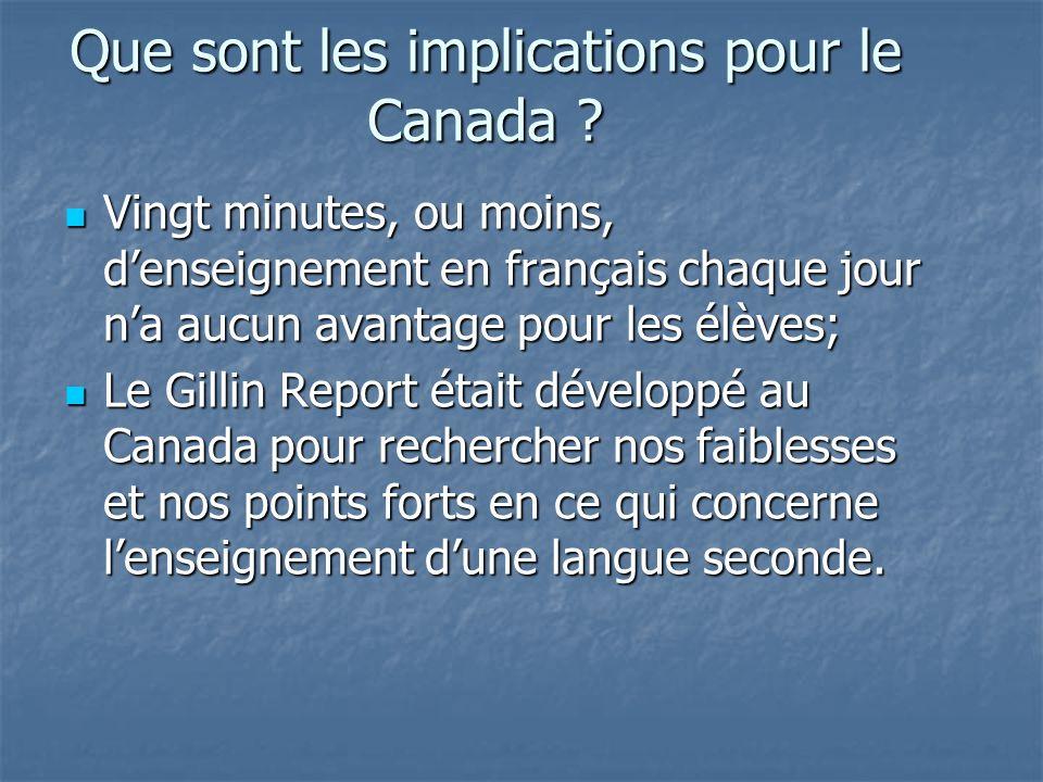 Que sont les implications pour le Canada .