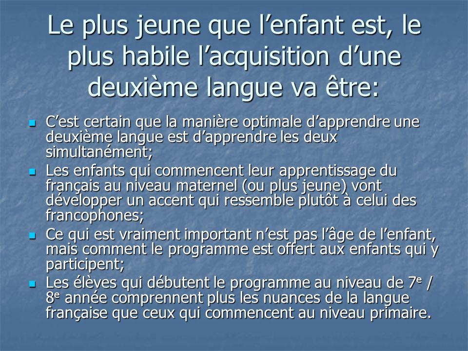 Le plus jeune que lenfant est, le plus habile lacquisition dune deuxième langue va être: Cest certain que la manière optimale dapprendre une deuxième langue est dapprendre les deux simultanément; Cest certain que la manière optimale dapprendre une deuxième langue est dapprendre les deux simultanément; Les enfants qui commencent leur apprentissage du français au niveau maternel (ou plus jeune) vont développer un accent qui ressemble plutôt à celui des francophones; Les enfants qui commencent leur apprentissage du français au niveau maternel (ou plus jeune) vont développer un accent qui ressemble plutôt à celui des francophones; Ce qui est vraiment important nest pas lâge de lenfant, mais comment le programme est offert aux enfants qui y participent; Ce qui est vraiment important nest pas lâge de lenfant, mais comment le programme est offert aux enfants qui y participent; Les élèves qui débutent le programme au niveau de 7 e / 8 e année comprennent plus les nuances de la langue française que ceux qui commencent au niveau primaire.