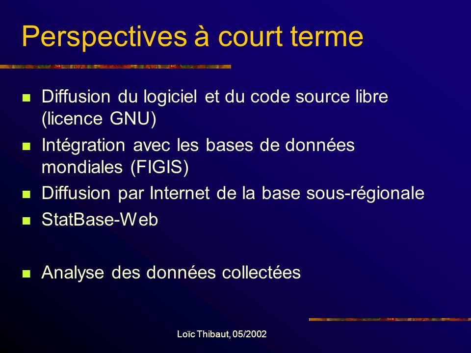 Loïc Thibaut, 05/2002 Perspectives à court terme Diffusion du logiciel et du code source libre (licence GNU) Intégration avec les bases de données mondiales (FIGIS) Diffusion par Internet de la base sous-régionale StatBase-Web Analyse des données collectées