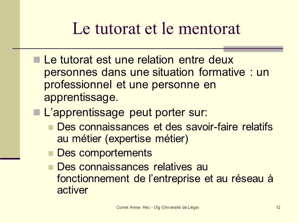 Cornet Annie- Hec - Ulg (Université de Liège)12 Le tutorat et le mentorat Le tutorat est une relation entre deux personnes dans une situation formativ